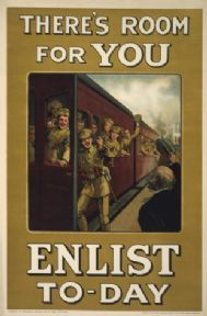 Vintage WW1 poster. There's room for you. Enlist to-day
